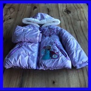 Disney Frozen lavender puffy jacket. Size 4.
